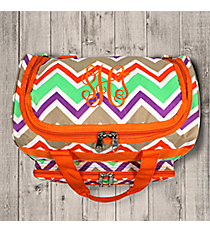 "Lime Green and Khaki Chevron 13"" Petite Duffle Bag with Orange Trim #T13-171"