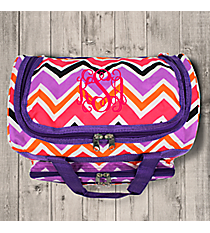 "Purple and Fuchsia Chevron 13"" Petite Duffle Bag with Purple Trim #T13-172"