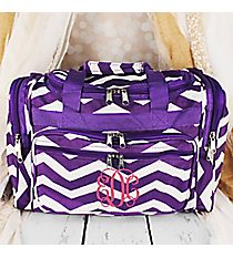 "Purple and White Chevron Duffle Bag 16"" #T16-165-AP/W"