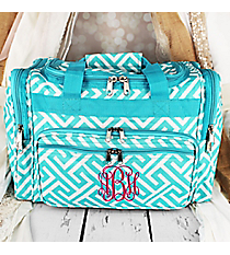 "Light Blue and White Greek Key Maze Duffle Bag 16"" #T16-185-LT/W"