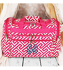 "Fuchsia and White Greek Key Maze Duffle Bag 16"" #T16-185-F/W"