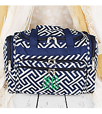 "Navy and White Greek Key Maze Duffle Bag 16"" #T16-185-N/W"
