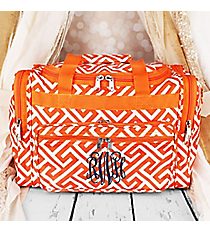"Orange and White Greek Key Maze Duffle Bag 16"" #T16-185-OR/W"
