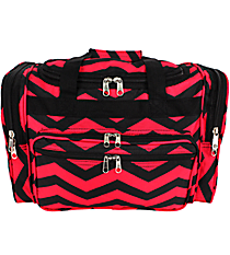 "Black and Fuchsia Chevron 16"" Duffle Bag #T16-165-B/F"