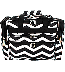 "Black and White Chevron 16"" Duffle Bag #T16-165-B/W"