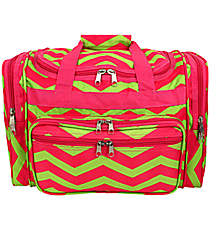 "Fuchsia and Lime Green Chevron 16"" Duffle Bag #T16-165-F/G"