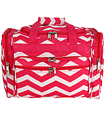 "Fuchsia and White Chevron 16"" Duffle Bag #T16-165-F/W"