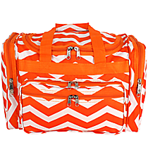 "Orange and White Chevron 16"" Duffle Bag #T16-165-OR/W"