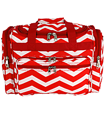 "Red and White Chevron 16"" Duffle Bag #T16-165-R/W"