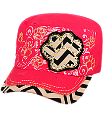 Hot Pink Chevron Paw Distressed Cadet Cap #T21BAR02-HPK