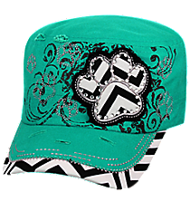 Turquoise Chevron Paw Distressed Cadet Cap #T21BAR02-TUQ