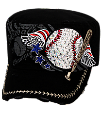 Black Patriotic Bling Baseball Distressed Cadet Cap #T21BAS02-BLK