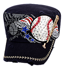Navy Patriotic Bling Baseball Distressed Cadet Cap #T21BAS02-NAV