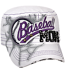 Baseball Mom Distressed White Cadet Cap #T21BSM01-WHT