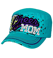 Cheer Mom Distressed Aqua Cadet Cap #T21CHM01-AQUA