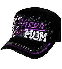 Cheer Mom Distressed Black Cadet Cap #T21CHM01-BLK