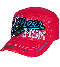 Cheer Mom Distressed Hot Pink Cadet Cap #T21CHM01-HPK