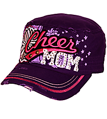 Cheer Mom Distressed Purple Cadet Cap #T21CHM01-PUR