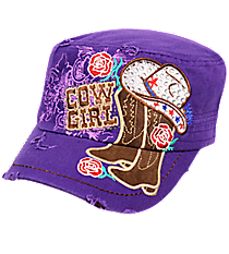 Purple Bling Cowgirl Distressed Cadet Cap #T21COW02-PUR