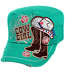 Turquoise Bling Cowgirl Distressed Cadet Cap #T21COW02-TUQ