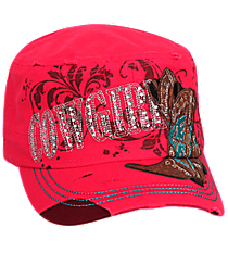 Cowgirl with Boots Distressed Hot Pink Cadet Cap #T21COW03-HPK