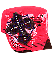 Hot Pink Distressed Winged Cross Cadet Cap #T21CRO13-HPK