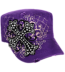 Purple Bling Cross Distressed Cadet Cap #T21CRO29-PUR