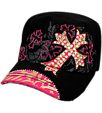 Black Bling Cross Distressed Cadet Cap #T21CRO34-BLK
