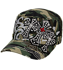 Triple Cross Camo Distressed Cadet Cap #T21CRO35-CAM