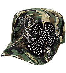 Crystal Cross Distressed Camo Cadet Cap #T21CRO43-CAM