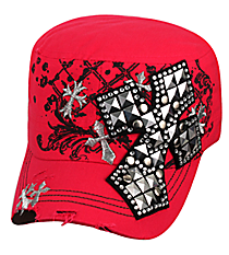 Hot Pink Distressed Studded Cross Cadet Cap #T21CRO48-HPK