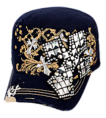 Navy Distressed Studded Cross Cadet Cap #T21CRO48-NAV