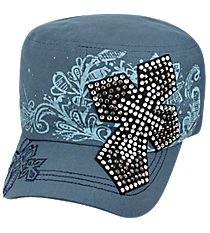 Steel Blue Bling Cross Distressed Cadet Cap #T21CRO50-BBL