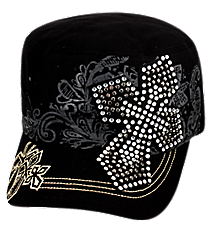 Black Bling Cross Distressed Cadet Cap #T21CRO50-BLK