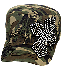 Camo Bling Cross Distressed Cadet Cap #T21CRO50-CAM