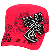 Hot Pink Bling Cross Distressed Cadet Cap #T21CRO50-HPK