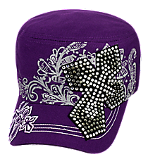 Purple Bling Cross Distressed Cadet Cap #T21CRO50-PUR