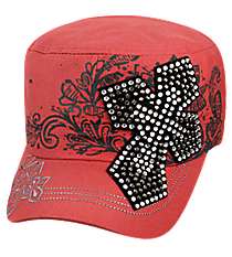 Coral Rose Bling Cross Distressed Cadet Cap #T21CRO50-NAN