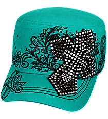 Dark Turquoise Bling Cross Distressed Cadet Cap #T21CRO50-TUQ