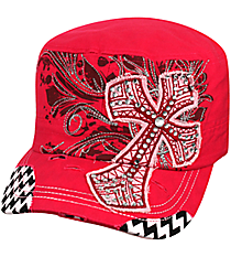Hot Pink Cross with Chevron Distressed Cadet Cap #T21CRO51-HPK