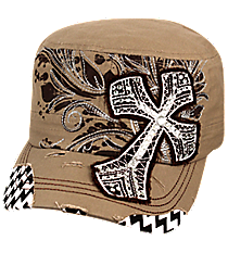 Khaki Cross with Chevron Distressed Cadet Cap #T21CRO51-KHK