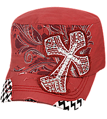 Coral Rose Cross with Chevron Distressed Cadet Cap #T21CRO51-NAN