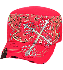 Hot Pink Rhinestone Cross Distressed Cadet Cap #T21CRO52-HPK