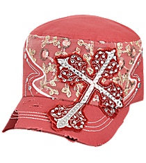 Coral Rose Rhinestone Cross Distressed Cadet Cap #T21CRO52-NAN