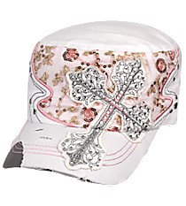 White Rhinestone Cross Distressed Cadet Cap #T21CRO52-WHT