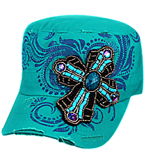 Beaded Cross Dark Turquoise Distressed Cadet Cap #T21CROB1-TUQ