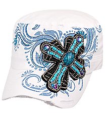 Beaded Cross White Distressed Cadet Cap #T21CROB1-WHT