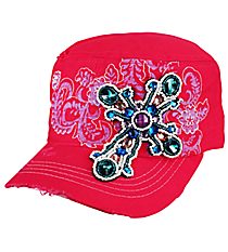 Hot Pink Bejeweled Cross Distressed Cadet Cap #T21CROB3-HPK