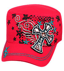 Winged Beaded Cross with Flowers Hot Pink Cadet Cap #T21CROB4-HPK