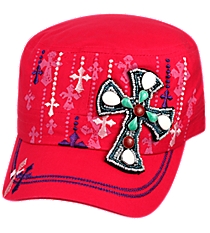 Stone Cross Hot Pink Distressed Cadet Cap #T21CROB5-HPK